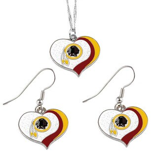 NFL Washington Redskins Sports Team Logo Glitter Heart Necklace and Earring Set Charm Gift
