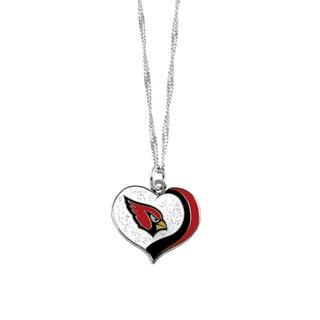 NFL Arizona Cardinals Sports Team Logo Glitter Heart Necklace Charm Gift