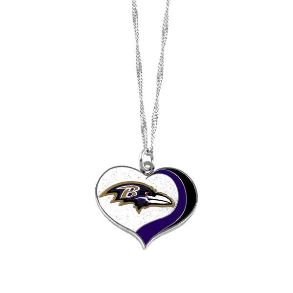 NFL Baltimore Ravens Sports Team Logo Glitter Heart Necklace Charm Gift
