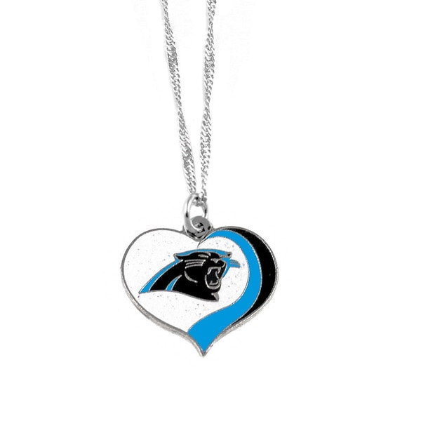 NFL Carolina Panthers Sports Team Logo Glitter Heart Necklace Charm Gift