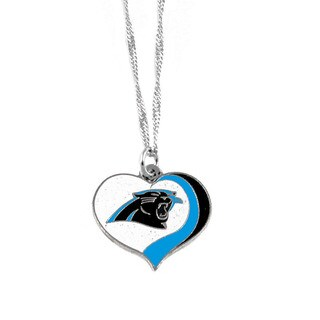 NFL Carolina Panthers Sports Team Logo Glitter Heart Necklace Charm Gift