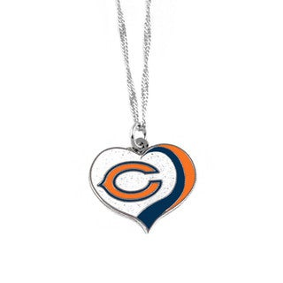 NFL Chicago Bears Sports Team Logo Glitter Heart Necklace Charm Gift