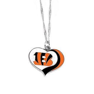 NFL Cincinncati Bengals Sports Team Logo Glitter Heart Necklace Charm Gift