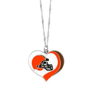NFL Cleveland Browns Sports Team Logo Glitter Heart Necklace Charm Gift