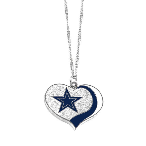 NFL Dallas Cowboys Sports Team Logo Glitter Heart Necklace Charm Gift