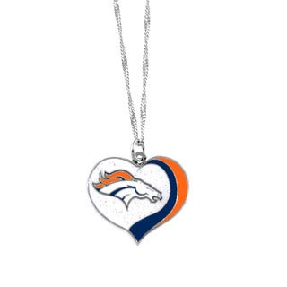 NFL Denver Broncos Sports Team Logo Glitter Heart Necklace Charm Gift