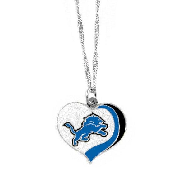 NFL Detroit Lions Sports Team Logo Glitter Heart Necklace Charm Gift