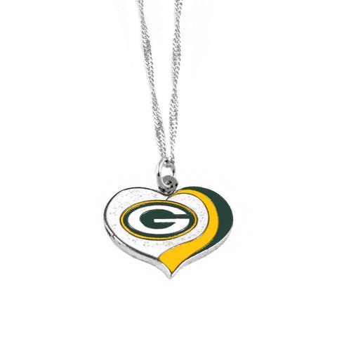NFL Green Bay Packers Sports Team Logo Glitter Heart Necklace Charm Gift