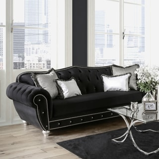 Furniture of America Renee Formal Premium Black Tufted Velvet Sofa