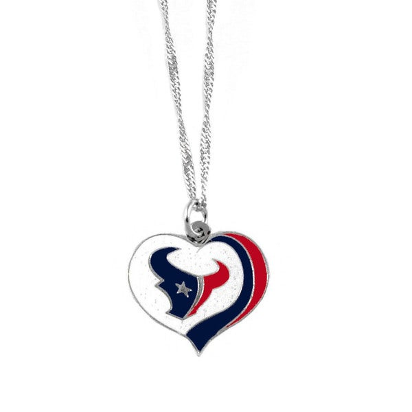 NFL Houston Texans Sports Team Logo Glitter Heart Necklace Charm Gift