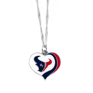 NFL Houston Texans Sports Team Logo Glitter Heart Necklace Charm Gift