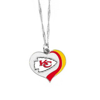 NFL Kansas City Chiefs Sports Team Logo Glitter Heart Necklace Charm Gift