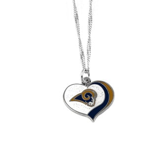 NFL Los Angeles Rams Sports Team Logo Glitter Heart Necklace Charm Gift