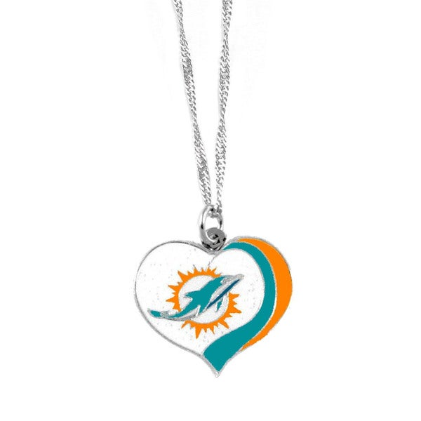 NFL Miami Dolphins Sports Team Logo Glitter Heart Necklace Charm Gift