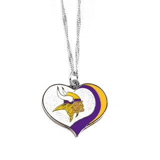 NFL Minnesota Vikings Sports Team Logo Glitter Heart Necklace Charm Gift