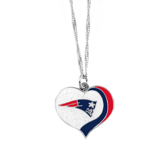 NFL New England Patriots Sports Team Logo Glitter Heart Necklace Charm Gift