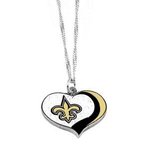 NFL New Orleans Saints Sports Team Logo Glitter Heart Necklace Charm Gift