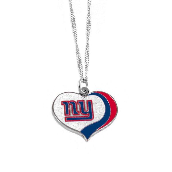 NFL New York Giants Sports Team Logo Glitter Heart Necklace Charm Gift