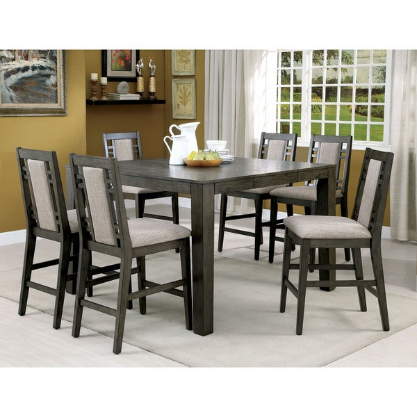 Superb Furniture Of America Basson Rustic 7 Piece Grey Counter Height Dining Set