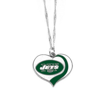 NFL New York Jets Sports Team Logo Glitter Heart Necklace Charm Gift