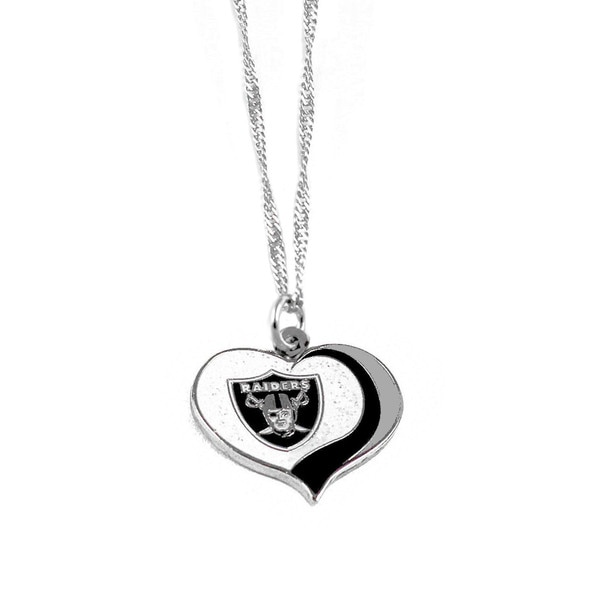 NFL Oakland Raiders Sports Team Logo Glitter Heart Necklace Charm Gift