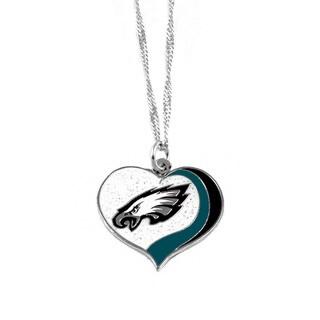 NFL Philadelphia Eagles Sports Team Logo Glitter Heart Necklace Charm Gift