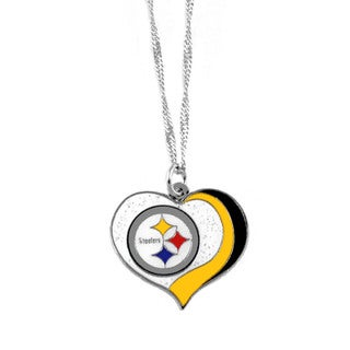 NFL Pittsburgh Steelers Sports Team Logo Glitter Heart Necklace Charm Gift