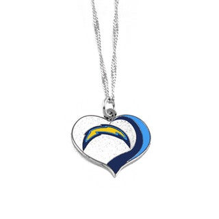 NFL San Diego Chargers Sports Team Logo Glitter Heart Necklace Charm Gift