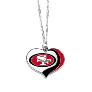 NFL San Francisco 49ers Sports Team Logo Glitter Heart Necklace Charm Gift