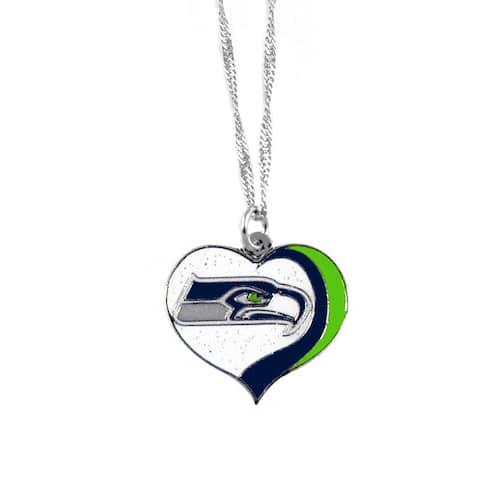 NFL Seattle Seahawks Sports Team Logo Glitter Heart Necklace Charm Gift