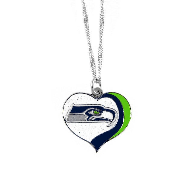 NFL Seattle Seahawks Sports Team Logo Glitter Heart Necklace Charm Gift