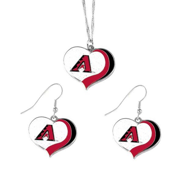 MLB Arizona Diamondbacks Sports Team Logo Glitter Heart Necklace and Earring Set Charm Gift