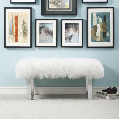 Sherpa White Sheepskin Bench with Silver Stainless Steel Base