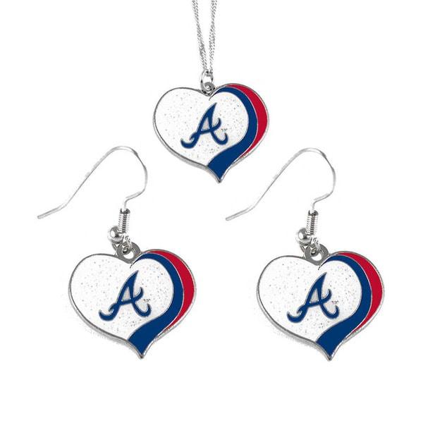 MLB Atlanta Braves Sports Team Logo Glitter Heart Necklace and Earring Set Charm Gift