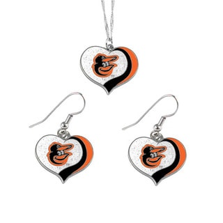 MLB Baltimore Orioles  Sports Team Logo Glitter Heart Necklace and Earring Set Charm Gift