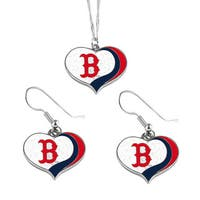 MLB Boston Red Sox  Sports Team Logo Glitter Heart Necklace and Earring Set Charm Gift