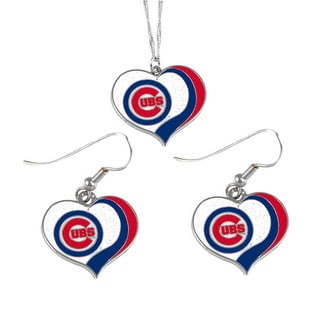 MLB Chicago Cubs  Sports Team Logo Glitter Heart Necklace and Earring Set Charm Gift
