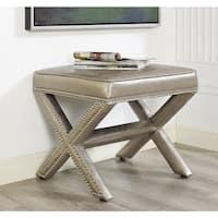 Reese Metallic Silver Faux-leather/Wood Ottoman