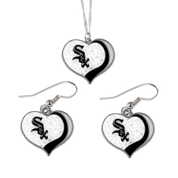 MLB Chicago White Sox  Sports Team Logo Glitter Heart Necklace and Earring Set Charm Gift