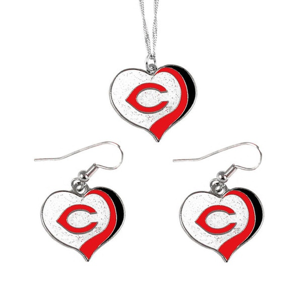 MLB Cincinnati Reds Sports Team Logo Glitter Heart Necklace and Earring Set Charm Gift