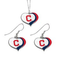 MLB Cleveland Indians  Sports Team Logo Glitter Heart Necklace and Earring Set Charm Gift