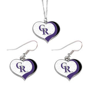 MLB Colorado Rockies Sports Team Logo Glitter Heart Necklace and Earring Set Charm Gift