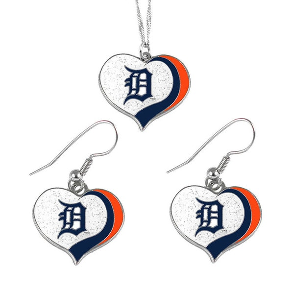 MLB Detroit Tigers Sports Team Logo Glitter Heart Necklace and Earring Set Charm Gift