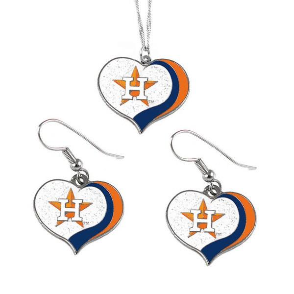 MLB Houston Astros  Sports Team Logo Glitter Heart Necklace and Earring Set Charm Gift