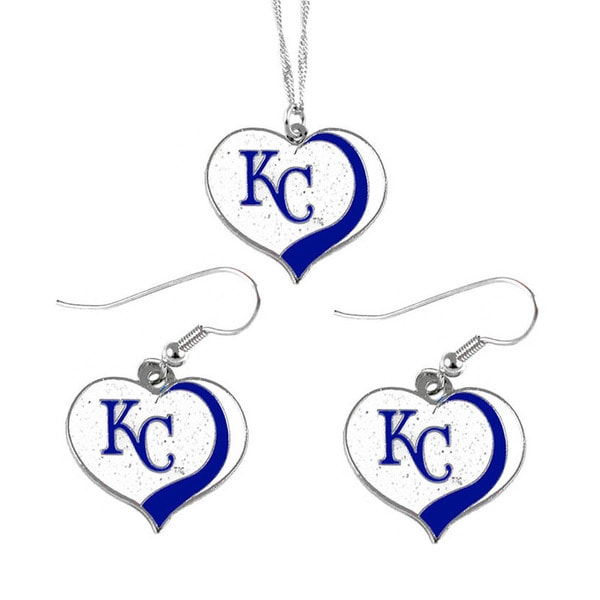 MLB Kansas City Royals Sports Team Logo Glitter Heart Necklace and Earring Set Charm Gift