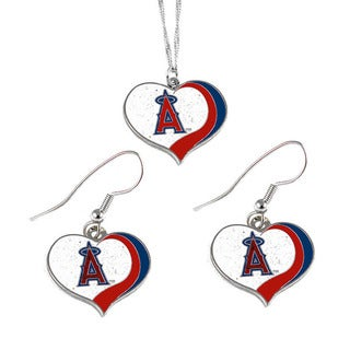 MLB Los Angeles Angels Sports Team Logo Glitter Heart Necklace and Earring Set Charm Gift