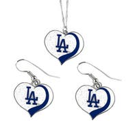 MLB Los Angeles Dodgers  Sports Team Logo Glitter Heart Necklace and Earring Set Charm Gift