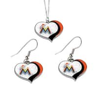 MLB Miami Marlins  Sports Team Logo Glitter Heart Necklace and Earring Set Charm Gift