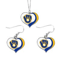 MLB Milwaukee Brewers  Sports Team Logo Glitter Heart Necklace and Earring Set Charm Gift
