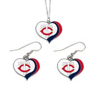 MLB Minnesota Twins  Sports Team Logo Glitter Heart Necklace and Earring Set Charm Gift
